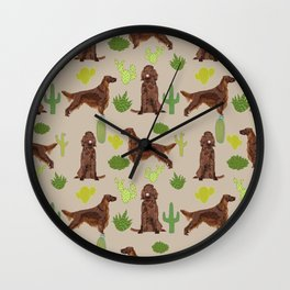 Irish Setter cactus southwest desert dog breed cute gift for dog lover pupper portrait pattern gifts Wall Clock