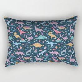Dinosaur + Flowers Pattern Rectangular Pillow
