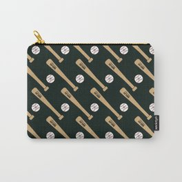 Baseball Bat and Ball Pattern (Black) Carry-All Pouch