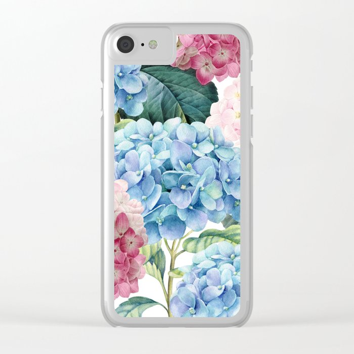Pink Blue Hydrangea Clear iPhone Case