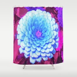 Pretty Blue Zinnia in the Purple Summer Garden Shower Curtain
