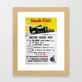 British Grand Prix, Silverstone, 1965, Vintage Poster, car poster Framed Art Print