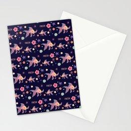 """""""Fresh""""Pretty fish Pattern(navy) Stationery Cards"""