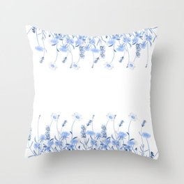 Wild Flowers in Blue and White Throw Pillow