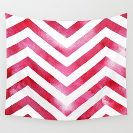 Watercolor Chevro, Red Chevron Striped Watercolor, Home And Accessories Wall Tapestry