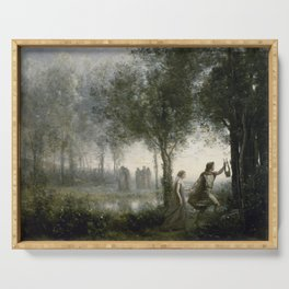 Camille Corot - Orpheus Leading Eurydice From The Underworld Serving Tray