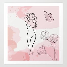 Sexy Nude Woman With Butterfly, Nude Female Body Print, Bedroom Wall Decor, Naked Figure Poster Art Print