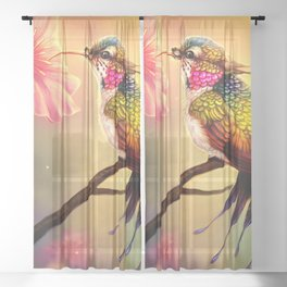 Gorgeous Colorful Fairytale Hummingbird Creature Licking Blossom Juice UHD Sheer Curtain