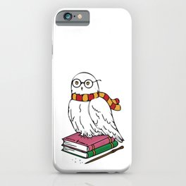 Snowy White Owl Magic Books and Wand iPhone Case