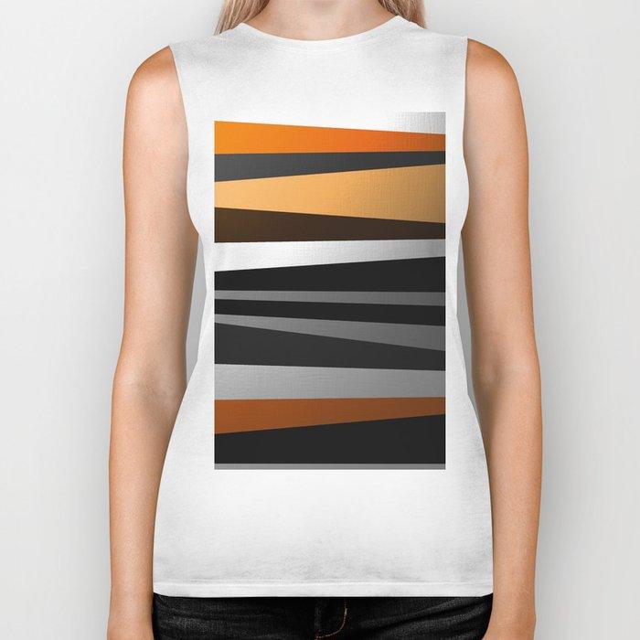 Metallic II - Abstract, geometric, metallic effect stripes, gold, silver, black Biker Tank