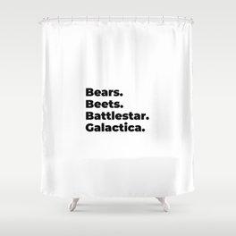 bears, beets, battlestar, galactica, schrute farms Shower Curtain
