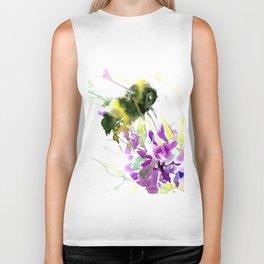 Bumblebee and Flowers floral bee design Biker Tank