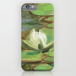White water-lily oil painting iPhone Case