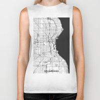 milwaukee Biker Tanks featuring Milwaukee Map Gray by City Art Posters