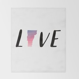 Love Vermont - Sunset Watercolor State Throw Blanket