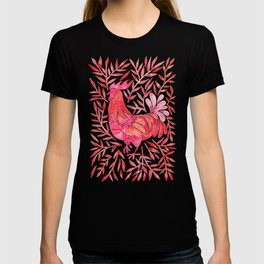 Le Coq – Watercolor Rooster with Red Leaves T-shirt