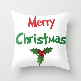 Merry Christmas | Holly Throw Pillow