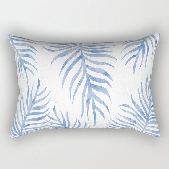 Fern Pattern Blue Rectangular Pillow