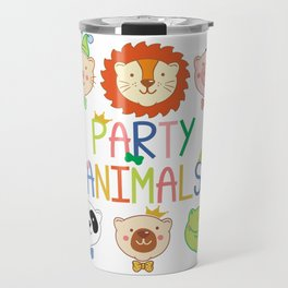 Party Animals Colorful Rainbow Letters Cute  design Travel Mug