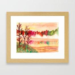 Autumn Landscape Watercolor Framed Art Print