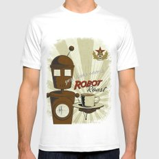 Robot Roast White Mens Fitted Tee MEDIUM