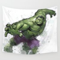 hulk Wall Tapestries featuring Hulk  by Isaak_Rodriguez