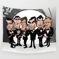 bond Wall Tapestries featuring Faces of Bond by BinaryGod.com
