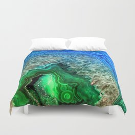 Turquoise Green Agate Mineral Gemstone Duvet Cover