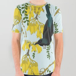 Tuis in the Kowhai Flowers All Over Graphic Tee