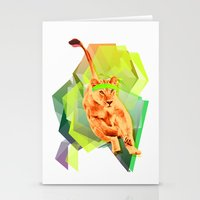 fitness Stationery Cards featuring Lioness fitness by veronica ∨∧