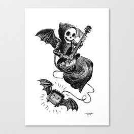 Little Grim Reaper Playing A Guitar Canvas Print
