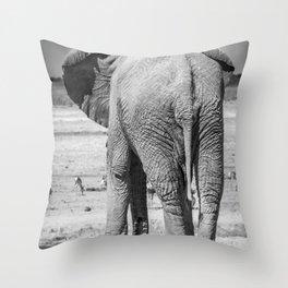 B&W Elephant 9 Throw Pillow