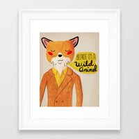 golden Framed Art Prints featuring Because I'm a Wild Animal by Nan Lawson
