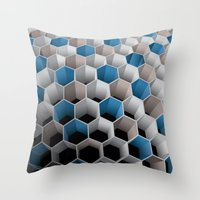 honeycomb Throw Pillows featuring Honeycomb by amanvel