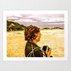 Girl and Camera Art Print