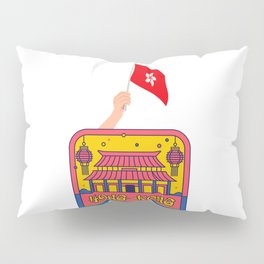 Hong Kong and Flag in Hand Pillow Sham