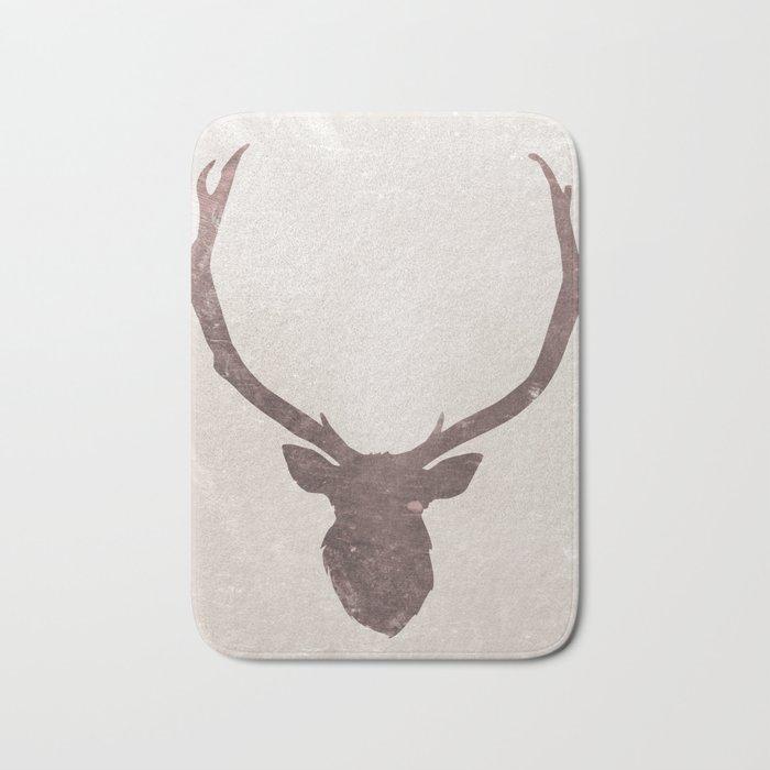 Deer stag silhouette grunge design Bath Mat