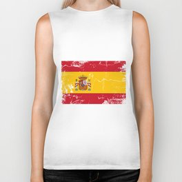 Spain flag with grunge effect Biker Tank
