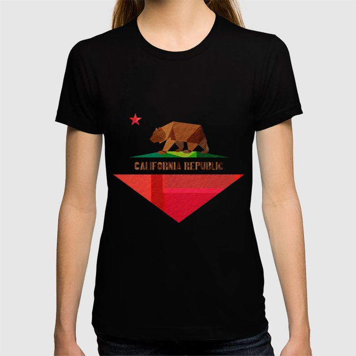 California Graphic T-shirt by Fimbis - Black - X-LARGE - Womens Fitted Tee