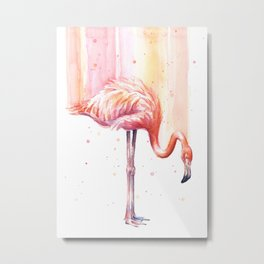 Flamingo Watercolor Flamingo Painting Metal Print