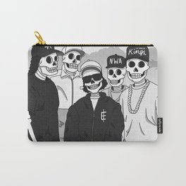 Skulls With Attitude Black White Carry-All Pouch
