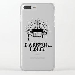 CAREFUL I BITE Clear iPhone Case