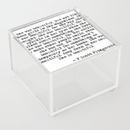 She was beautiful - Fitzgerald quote Acrylic Box