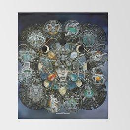 """Astrological Mechanism - Zodiac"" Throw Blanket"