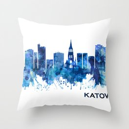 Katowice Poland Skyline Blue Throw Pillow