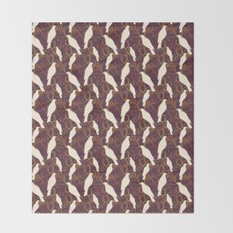 Kereru and magnolia - chocolate  Throw Blanket