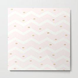 Pink Gold White Glitter Confetti Chevron Polka Dots Brushstroke Metal Print