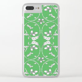 Acorns and ladybugs green pattern Clear iPhone Case