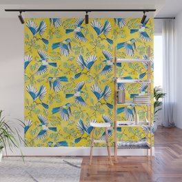 Flying Birds and Oak Leaves on Yellow Wall Mural