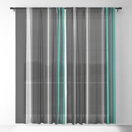 Teal black and white stripes Sheer Curtain
